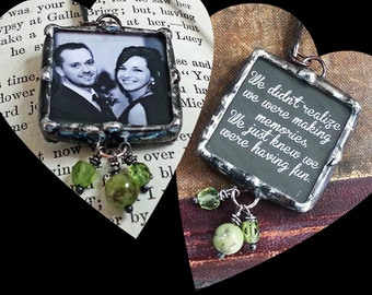 Photo Bookmark, Wedding Accessory, Engagement Gift, Soldered Glass Charm, Personalized, Custom Made