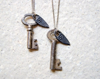 Antique Skeleton Key Necklace with pewter flower charm