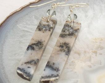 Dendritic Amethyst sage earrings, Amethyst sage and sterling silver dangle earrings, amethyst sage drop earrings, Amethyst sage jewelry