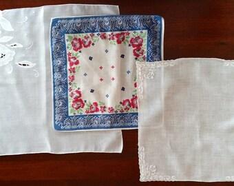 Vintage Ladies Handkerchiefs - Set of 3