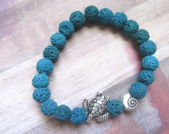 Sea Turtle Beaded Stretch Bracelet with Teal Lava Beads and Shell
