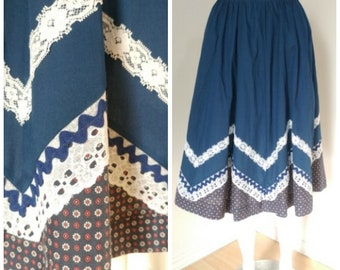 Vintage Full Peasant Skirt - S-