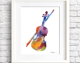 Violin Art Print - Abstract Watercolor Painting - Wall Decor