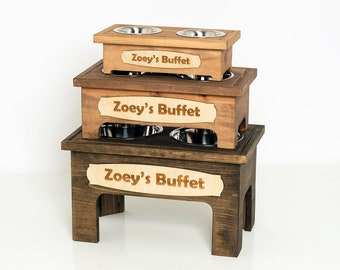 Personalized Pet Feeding Stand - Handmade, Solid Pine Wood - Elevated Double Bowl - Dog, Cat