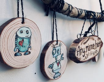 Robot wooden wall hanging- any name added