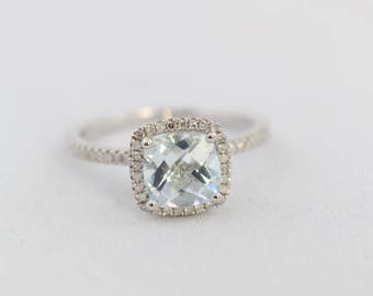 Halo Engagement Ring, Cushion Aquamarine, Halo Ring, Aquamarine Engagement Ring, Sterling Silver Ring, White Gold Plated Ring, Gold Plated