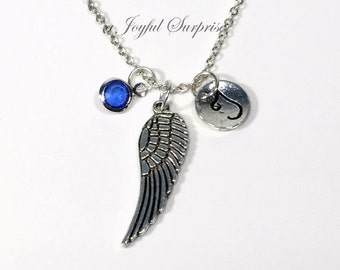Memorial Necklace, Angel Wing Jewelry, Animal Bird, Loss of Infant Gift, Child Silver charm Feather initial birthstone her him long short