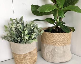 Mushroom Linen Hessian Pot Plant Bag
