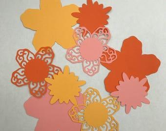 Flowers - Flower card shapes - Die cuts - Pink flowers - Yellow flowers - Orange flowers - Card flowers - Cardmaking - Scrapbooking