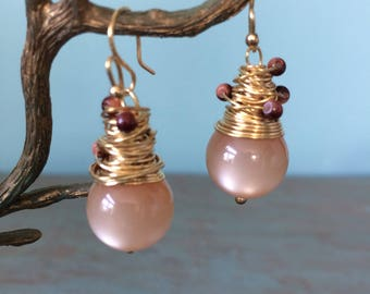 peach colored wire wrapped earrings