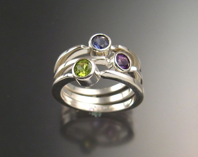 Stackable Mothers ring set of Three rings Made to order in Sterling Silver natural Birthstone rings