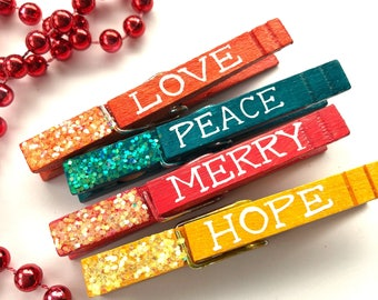 GLITTER CLOTHESPINS peace love hope merry hand painted magnetic clothespins Christmas clothespin place card holder hang cards