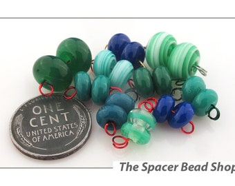 EFFERVESCENT EVERGREENS Bead PAIRS Lampwork Spacers Glass Handmade - The Spacer Bead Shop