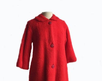 Vintage 50s red lounging robe/ Evelyn Pearson dressing gown/ hostess robe/ house coat/ acrylic fleece