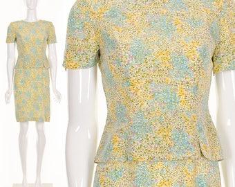 Silk Retro Peplum Dress Silk Mini Dress Pastel Floral Print Dress Small Medium 80s does 50s