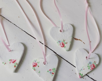 Set of 4 mini clay hearts decorated with decoupage