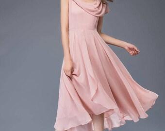 bridesmaid dress, chiffon dress, pink dress, midi dress, womens dresses, prom dress, fit and flare dress, wedding dress, evening dress C943