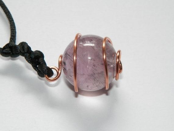 Amethyst Copper Hand Made Blessing Ball Amethyst Amulet Talisman Reiki Crystal Healing