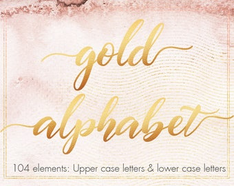 Gold alphabet clipart, Gold font clipart, Gold foil alphabet, Gold letters, Wedding clipart, Decorative lettering, Typography clipart