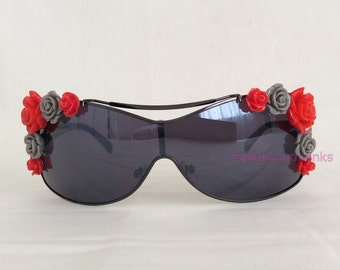 GiGi - Embellished Sunglasses Mirrored Shield Red Grey Roses Flowers Floral Sunnies Shades