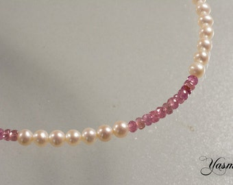 Pink tourmaline with freshwater pearl
