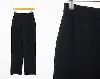 Vintage St. John Collection Black Wool Heavy Knit Woman's High Waist Wide Leg Pants