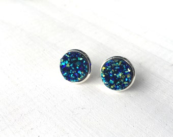 Blue Faux Druzy Stud Earrings