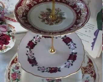 Vintage China Three Tier Cake Stand Tuscan Roses Afternoon Tea Party Celebration Wedding Table Shabby Chic Cupcake Display Show Home Shop