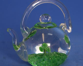 Paperweight Glass Teapot Kettle With 3 Leaf Clover Design Clear and Green