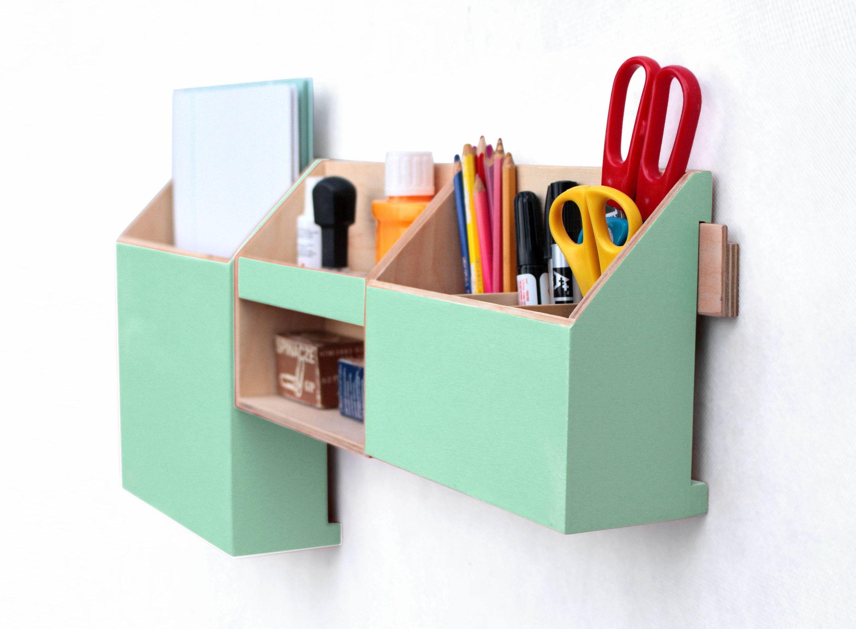 Wall Organizer Mint Green, Wall Wood Set, Mint Desktop Organizer, Green  Mint Desk Organizer, Office Organizer Set, Pen Mail And Paper Holder