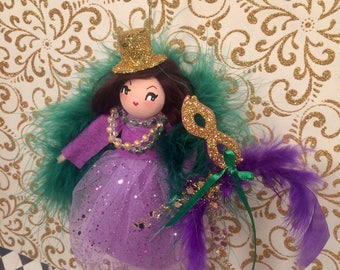 Mardi Gras doll mardi gras ornament christmas ornament art doll vintage retro inspired party girl New Orleans Fat Tuesday