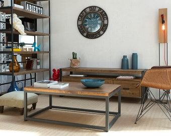 Loft Lounge table Industrial style in iron and solid wood Farrow