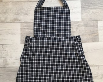 1990s Navy and White Check Pinafore Dress Small