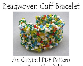 PDF Beading Pattern Tutorial - Right Angle Weave Freeform Embellished Beadwoven Cuff Bracelet - For Personal Use by randomcreative on Etsy
