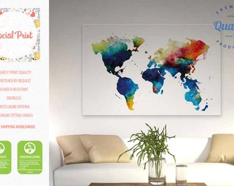 World map canvas etsy world map canvas print colorful watercolor free shipping canvas art world map gumiabroncs Image collections