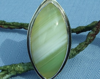 Marbled Lime Green & White Onyx Marquis Ring