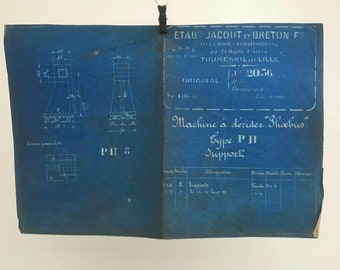French industrial engineering blueprint, no. 2036 circa 1930s. Wonderful dark teal colour. Size: 472 x 275 mm.