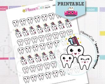 Dentist Stickers,  Printable Kawaii Dentist Appointment Planner Stickers,  Cute Teeth, Toothbrush, Erin Condren, K022