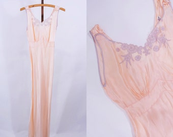 1940s nightgown | pink satin floral embroidered lingerie | vintage 40s nightgown | W 27""