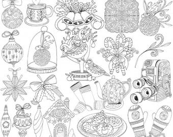 Winter Doodle ClipArt, Printable Stamp, Christmas Ornament Clip Art, PNG Digital Stamp, Copic Coloring, Card Making Image, Instant Download