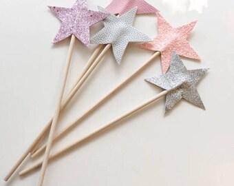 One Glitter star wand   glitter star wand, fairy wand, girls accessories, birthday gift, party bag