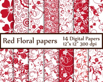 "Red Floral digital paper: ""FLORAL PAPERS"" Floral backgrounds Flower Patterns Red flower papers invitation paper Bridal paper Decoupage paper"