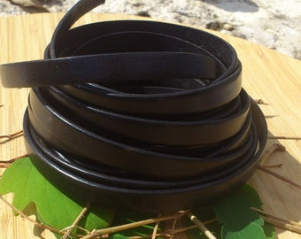Leather flat black high quality 10mm by 1 meter
