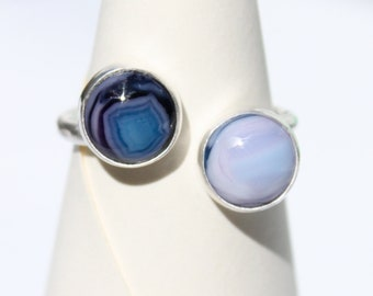 """Celestial Silver """"Horseshoe"""" Ring with Blue Handmade Glass"""