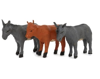 Antique French Farm Animals Toy Cow and  2 Donkey w/France Labels Miniature Animals