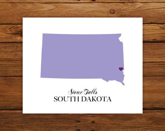 South Dakota State Love Map Silhouette 8x10 Print - Customized