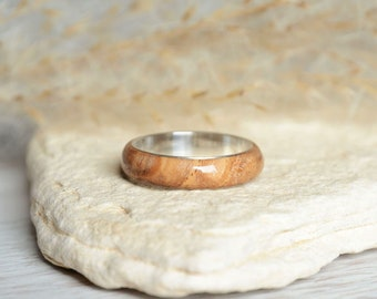 Natural wood band ring, silver and wood ring, 5 year anniversary ring, thin wooden band ring with sterling silver, ready for shipping