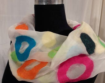 Chiffon loop, pure silk, Nuno, handmade, unique