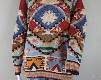 Vintage Tribal Print Knit Sweater