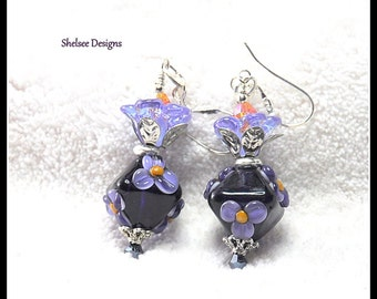 Black and Lavender Floral Earrings,Bicone shape Earrings,Floral Earrings,Flower Jewelry,Dangle Earrings - PASSION FLOWER